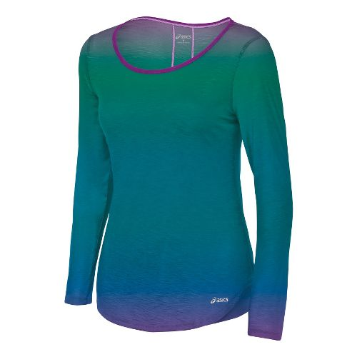 Womens ASICS PR Slub Long Sleeve No Zip Technical Tops - Ombre M