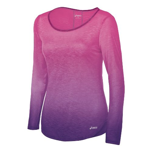 Womens ASICS PR Slub Long Sleeve No Zip Technical Tops - Wild Aster L