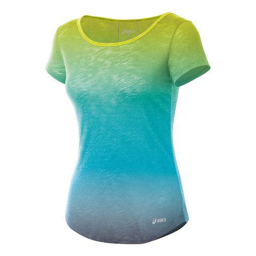 Womens ASICS PR Slub Short Sleeve Technical Tops - Electric Lime XS