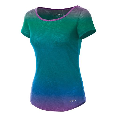 Womens ASICS PR Slub Short Sleeve Technical Tops - Ombre L
