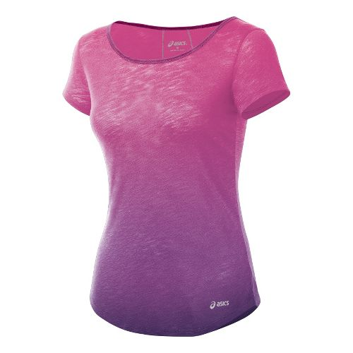 Womens ASICS PR Slub Short Sleeve Technical Tops - Wild Aster S