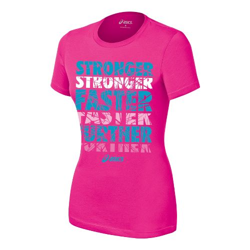 Womens ASICS Track T Short Sleeve Non-Technical Tops - PinkGlo L