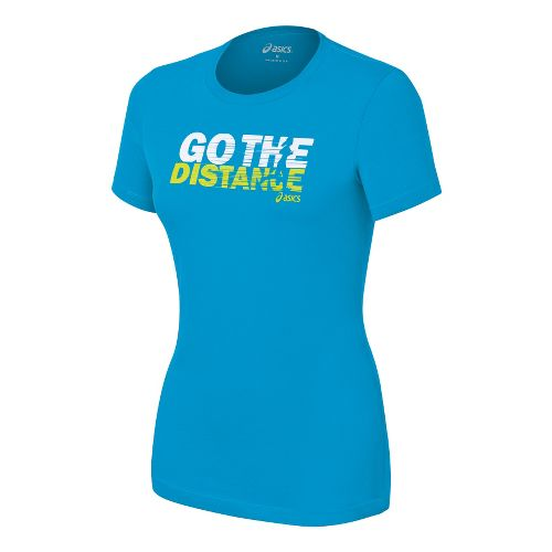 Womens ASICS Go the Distance T Short Sleeve Non-Technical Tops - Atomic Blue XL