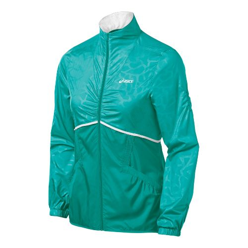 Womens ASICS Racket Running Jackets - Green Jade XS