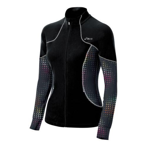Womens ASICS Lite-Show Running Jackets - Black/Print XS