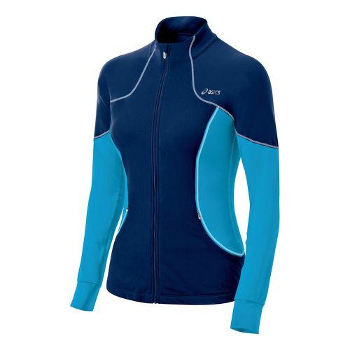 Womens ASICS Lite-Show Running Jackets - Ink/Atomic Blue S