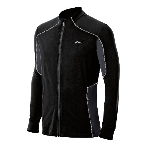 Mens ASICS Lite-Show Jacket Running Jackets - Black/Steel XXL