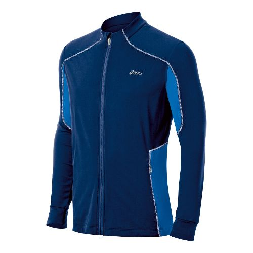 Mens ASICS Lite-Show Jacket Running Jackets - Ink/Electric L