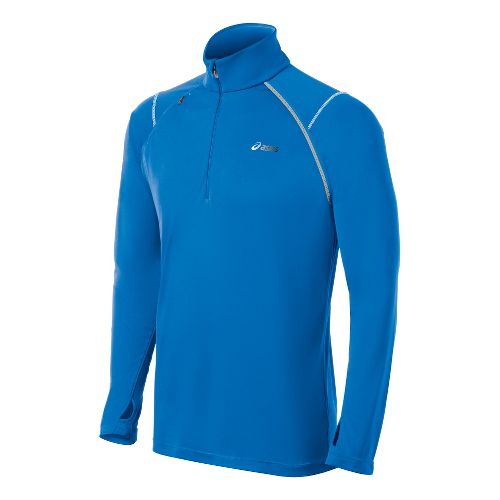 Mens ASICS Lite-Show Favorite Long Sleeve 1/2 Zip Technical Tops - Electric S