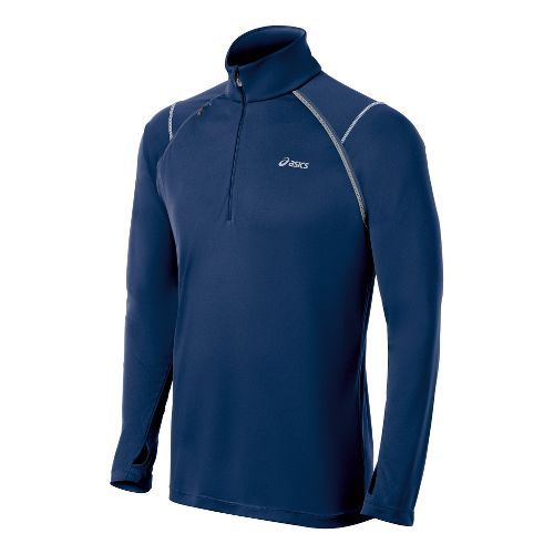 Mens ASICS Lite-Show Favorite Long Sleeve 1/2 Zip Technical Tops - Ink XXL