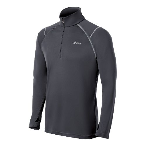 Mens ASICS Lite-Show Favorite Long Sleeve 1/2 Zip Technical Tops - Steel XXL