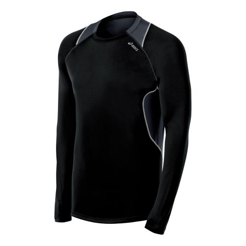 Mens ASICS Lite-Show Favorite Long Sleeve No Zip Technical Tops - Black/Steel XXL