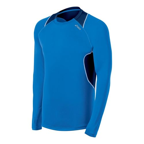 Mens ASICS Lite-Show Favorite Long Sleeve No Zip Technical Tops - Electric/Ink XL