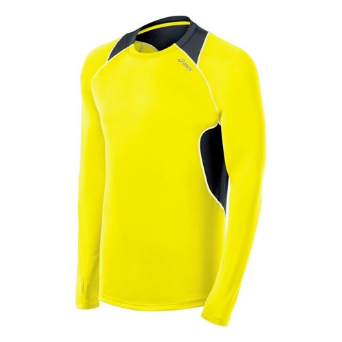 Mens ASICS Lite-Show Favorite Long Sleeve No Zip Technical Tops - Neon Yellow/Steel XXL