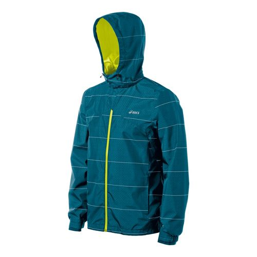Mens ASICS Storm Shelter Running Jackets - Deep Sea/Electric Lime M