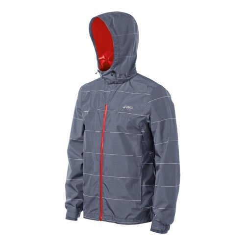 Mens ASICS Storm Shelter Running Jackets - Slate/Red Heat M