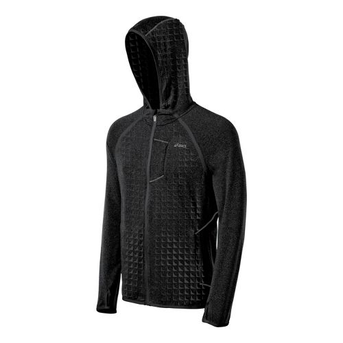 Mens ASICS Thermopolis LT Hoody Running Jackets - Black Embossed S