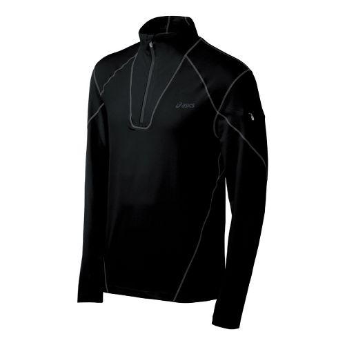 Mens ASICS Thermopolis LT Long Sleeve 1/2 Zip Technical Tops - Black/Black M