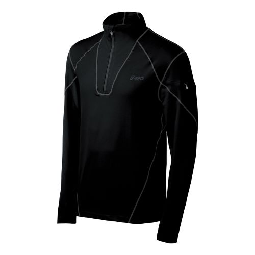 Mens ASICS Thermopolis LT Long Sleeve 1/2 Zip Technical Tops - Black/Black S