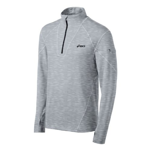 Mens ASICS Thermopolis LT Long Sleeve 1/2 Zip Technical Tops - Heather Grey L