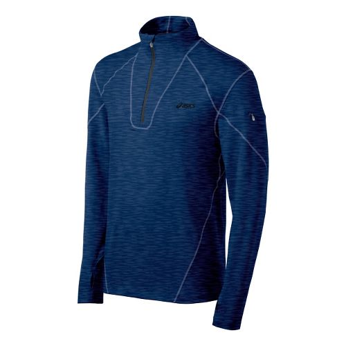 Mens ASICS Thermopolis LT Long Sleeve 1/2 Zip Technical Tops - Heather Ink XL