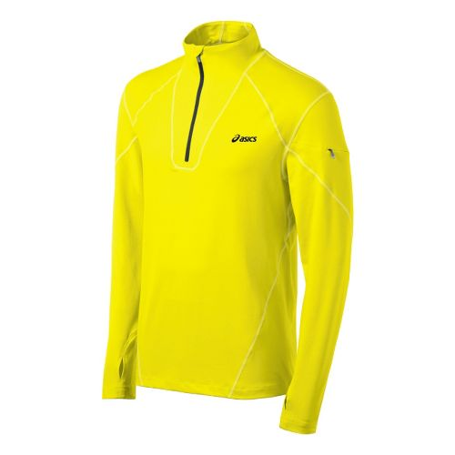 Mens ASICS Thermopolis LT Long Sleeve 1/2 Zip Technical Tops - Neon XXL