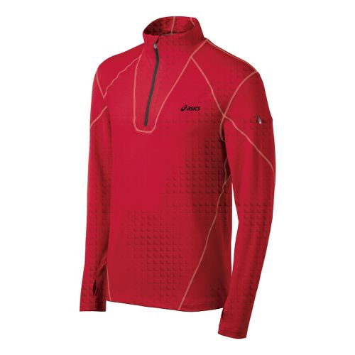 Mens ASICS Thermopolis LT Long Sleeve 1/2 Zip Technical Tops - True Red L