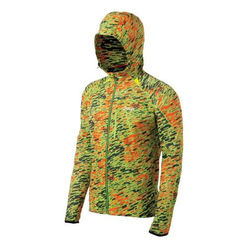 Mens ASICS FujiTrail Packable Running Jackets - Green Scatter M