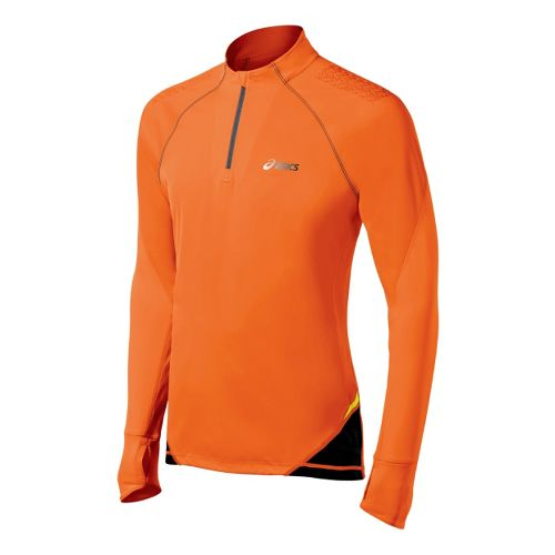 Mens ASICS FujiTrail Long Sleeve 1/2 Zip Technical Tops - Shocking Orange XL
