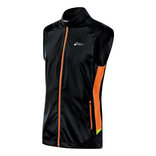 Mens ASICS FujiTrail Running Vests - Performance Black/Shocking Orange S