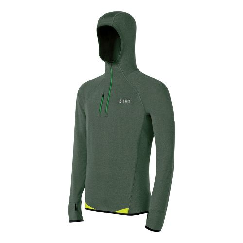 Mens ASICS FujiTrail WinterTop Long Sleeve 1/2 Zip Technical Tops - Army Green XL