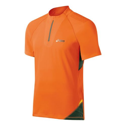 Mens ASICS FujiTrail 1/2 Zip Short Sleeve Technical Tops - Shocking Orange XXL