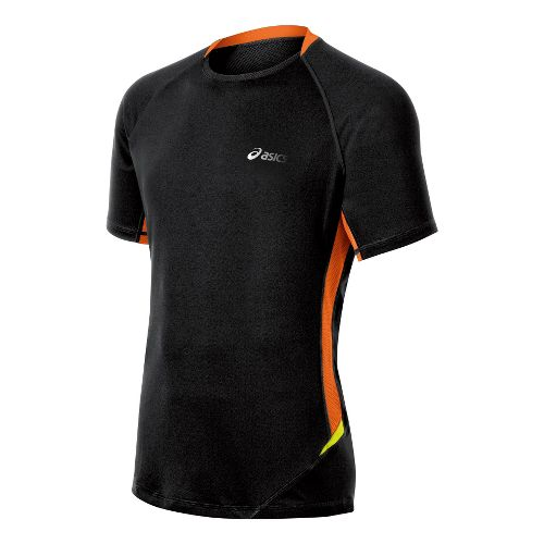 Mens ASICS FujiTrail Light Short Sleeve Technical Tops - Performance Black/Shocking Orange L