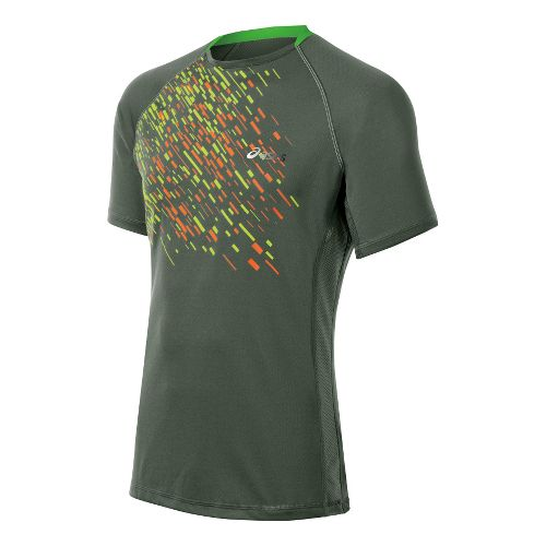 Mens ASICS FujiTrail Graphic Short Sleeve Technical Tops - Army Green L