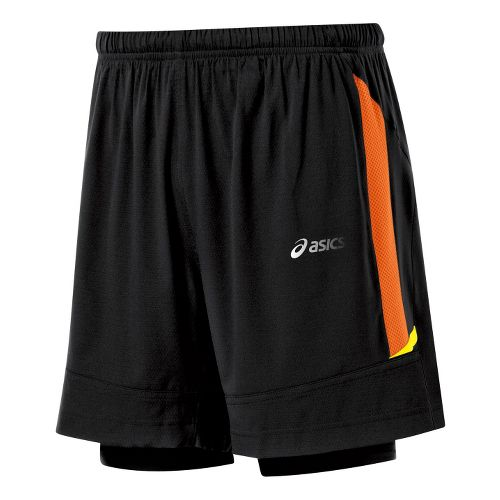 Mens ASICS FujiTrail 2-in-1 Shorts - Performance Black/Shocking Orange XXL