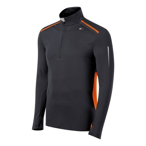 Mens ASICS ARD Long Sleeve 1/2 Zip Technical Tops - Steel/Orange Burst S