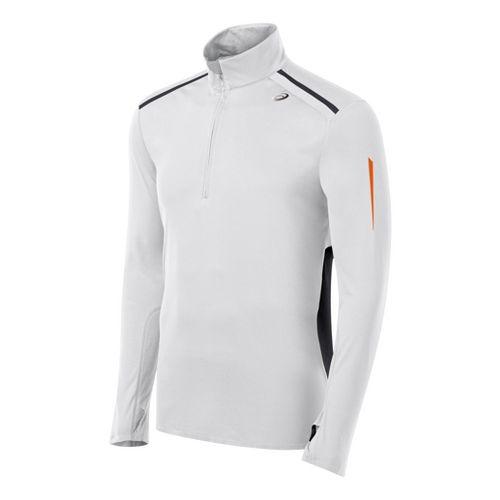 Mens ASICS ARD Long Sleeve 1/2 Zip Technical Tops - White/Black L