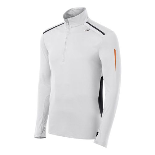 Mens ASICS ARD Long Sleeve 1/2 Zip Technical Tops - White/Black XL