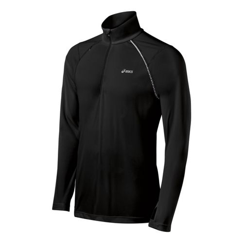 Mens ASICS Favorite Long Sleeve 1/2 Zip Technical Tops - Black XXL