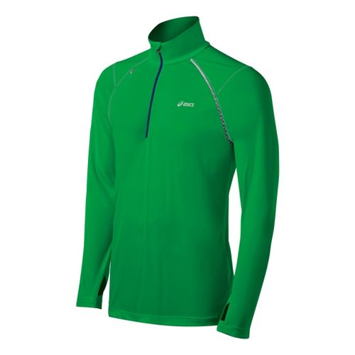Mens ASICS Favorite Long Sleeve 1/2 Zip Technical Tops - Go Green L