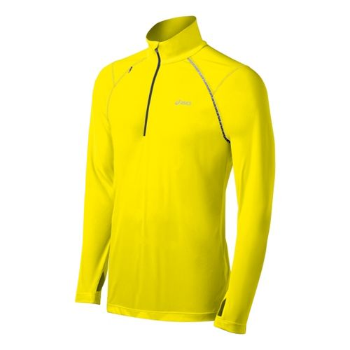 Mens ASICS Favorite Long Sleeve 1/2 Zip Technical Tops - Neon L
