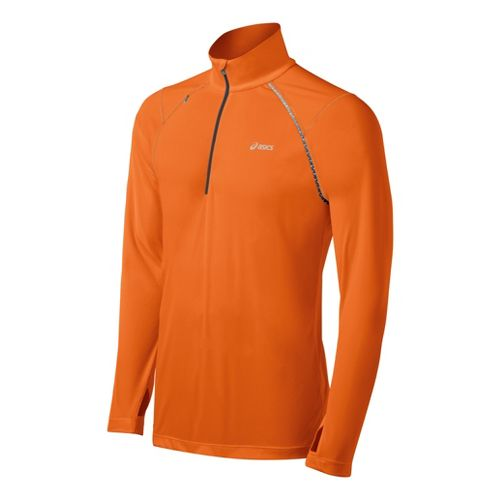 Mens ASICS Favorite Long Sleeve 1/2 Zip Technical Tops - Orange Burst S