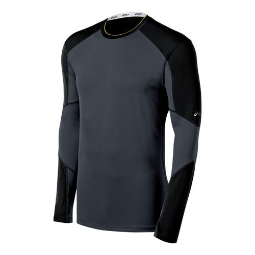 Mens ASICS Ecoline Long Sleeve No Zip Technical Tops - Black XXL