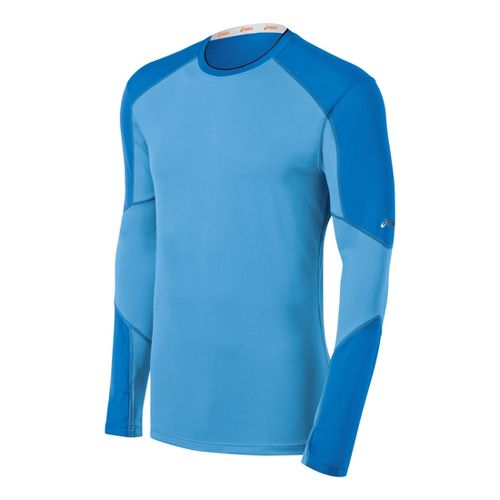 Mens ASICS Ecoline Long Sleeve No Zip Technical Tops - Electric M