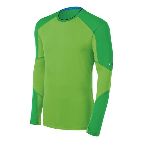Mens ASICS Ecoline Long Sleeve No Zip Technical Tops - Go Green L