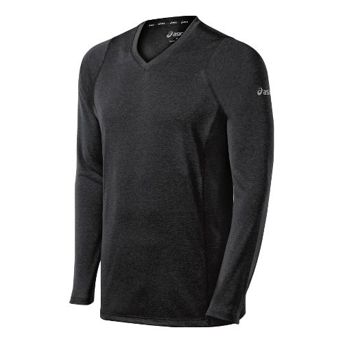 Mens ASICS Everyday II Long Sleeve No Zip Technical Tops - Black XXL