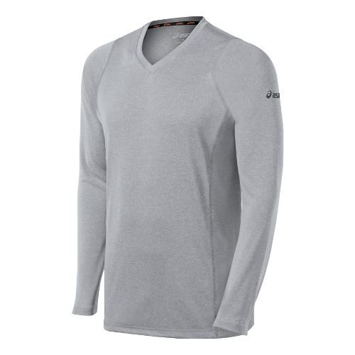 Mens ASICS Everyday II Long Sleeve No Zip Technical Tops - Heather Grey XL