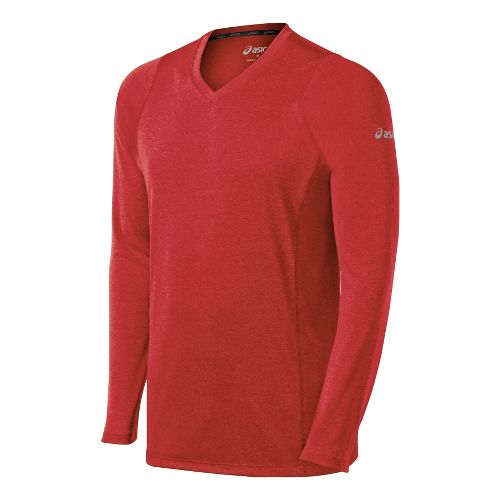 Mens ASICS Everyday II Long Sleeve No Zip Technical Tops - True Red S