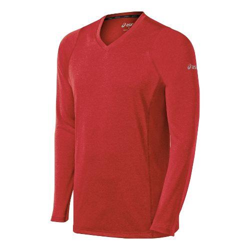Mens ASICS Everyday II Long Sleeve No Zip Technical Tops - True Red S