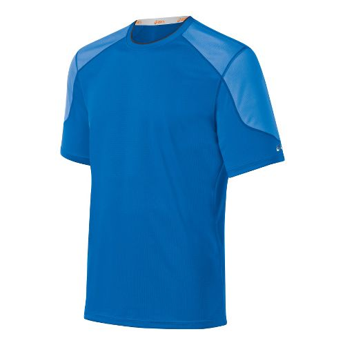 Mens ASICS Ecoline Short Sleeve Technical Tops - Electric L